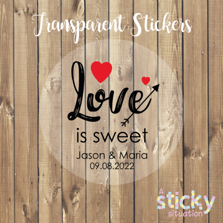 Personalised Transparent 'Love is Sweet' Stickers